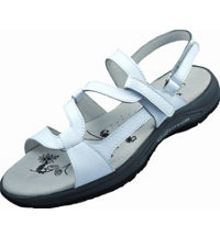 Women's Spiked Golf Sandals - White Faux Snake