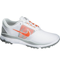 Women's FI Impact Spikeless Golf Shoes - White/Turf Orange/Light Gray