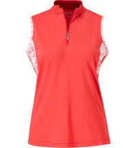 Women's Quarter-Zip Printed Sleeveless Polo