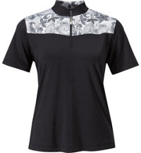 Women's Printed Short Sleeve Zip Mock