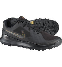 Men's TW14 Mesh Spikeless Golf Shoes - Black/Dark Grey/Metallic Gold