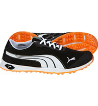 Men's BioFusion Mesh Spikeless Golf Shoe-Black/White/Orange