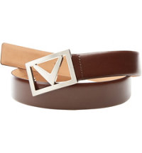 Men's In Your Face Leather Belt-Brown