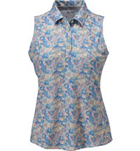 Women's All Over Floral Sleeveless Polo