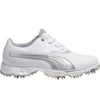 Women's BioPro Spiked Golf Shoes - White/Silver Metallic