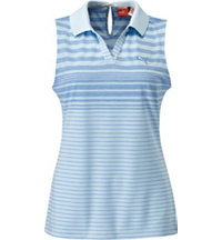 Women's Keyhole Stripe Sleeveless Polo