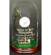 Personalized Hole In One Glass Dome with Caliper