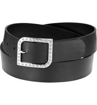 Women's Rhinestone Buckle with Reptile Grain Strap Belt