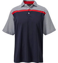 Men's Stretch Lisle Engineered Stripe Short Sleeve Polo