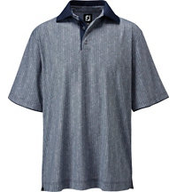 Men's Stretch Lisle Herringbone Print Short Sleeve Polo
