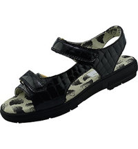 Women's Two Strap Tuscany Crocodile Spikeless Sandal Black