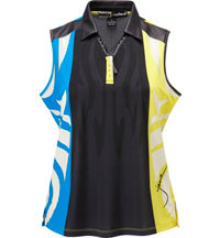 Women's Panel Print Sleeveless Polo