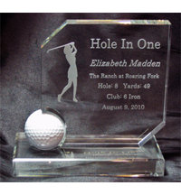 Personalized Crystal Hole In One Award - Womens
