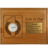 Personalized 7x9 Hole In One Plaque with Brass Plate