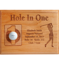 Personalized 9x12 Laser Etched Hole In One Plaque - Female