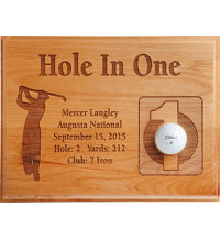 Personalized 9x12 Laser Etched Hole In One Plaque - Male
