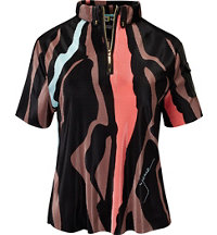 Women's Textured Animal Print Short Sleeve Polo