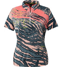 Women's Animal Print Quarter-Zip Polo