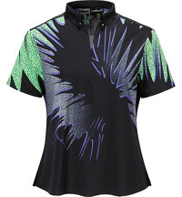 Women's Starburst Print Short Sleeve Mock