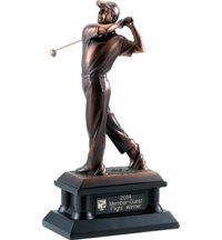 Personalized Copper Tone Male Golfer Statue - 12