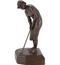 Personalized Antique Bronze Finished Female Golfer Statue