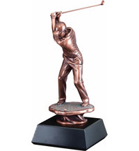 Personalized Copper Tone Male Golf Statue - 13