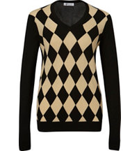 Women's Argyle Front Long Sleeve Sweater