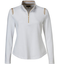 Women's Mesh Trim Long Sleeve Polo