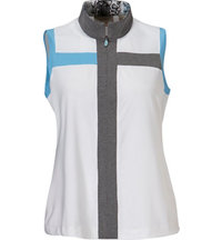 Women's Mesh Yoke Sleeveless Polo