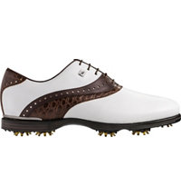 Men's Icon Black Spiked Golf Shoes - White/Brown (FJ# 52029)