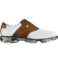 Men's DryJoys Tour Spiked Golf Shoes - White/Brown (FJ# 53677) Wide