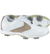Women's emBody Spiked Golf Shoes - White/Taupe (FJ# 96103)
