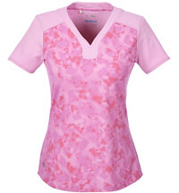Women's Mesh Print Short Sleeve Shirt