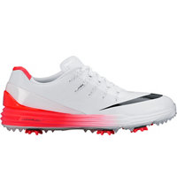 Men's Lunar Control IV Spiked Golf Shoes - White/Black/Bright Crimson
