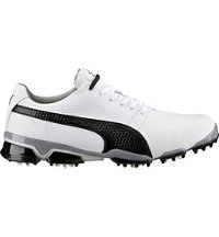 Men's Puma Titantour Ignite Spiked Golf Shoes - White/Black Drizzle
