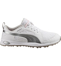 Women's Puma Biofly Mesh Spiked Golf Shoes - White/Puma Silver