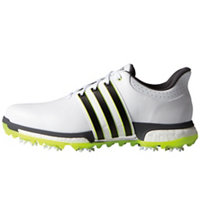 Men's Tour360 Boost Spiked Golf Shoes - White/Core Black/Solar Yellow
