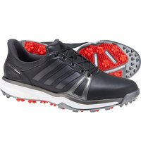 Men's Adipower Boost 2 Spiked Golf Shoes - Core Black/Dark Silver Metallic/Red