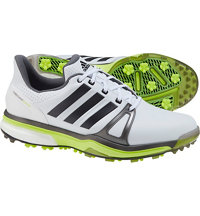 Men's Adipower Boost 2 Spiked Golf Shoes - Ftwr White/Dark Silver Metallic/Solar Yellow