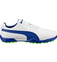 Junior's Puma Titantour V2 Jr. Spiked Golf Shoes - White/Surf the Web (# 18867203)