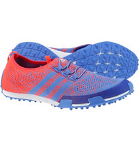 Women's Ballerina Primeknit Spikeless Golf Shoes - Baja Blue/Shock Red/Baja Blue