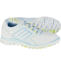 Women's Adistar Tour Spiked Golf Shoes - Ftwr White/Soft Blue/Sunny Lime