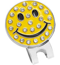 Rhinestone Happy Face Ball Marker with Hat Clip