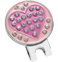 Rhinestone Heart Ball Marker with Hat Clip