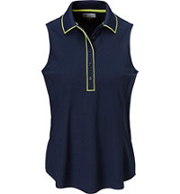 Women's Contrast Trim Sleeveless Polo