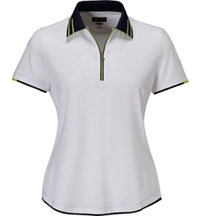 Women's Zip Contrast Trim Short Sleeve Polo