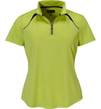 Women's Zip Colorblock Short Sleeve Mock