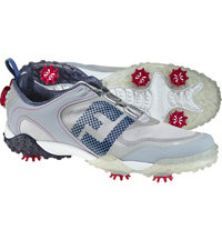 Men's Freestyle BOA Saddle Spiked Golf Shoes -Lt Gry/Nav/Berry (FJ# 57334)