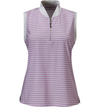 Women's Stripe Sleeveless Mock