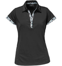Women's Printed Trim Short Sleeve Polo